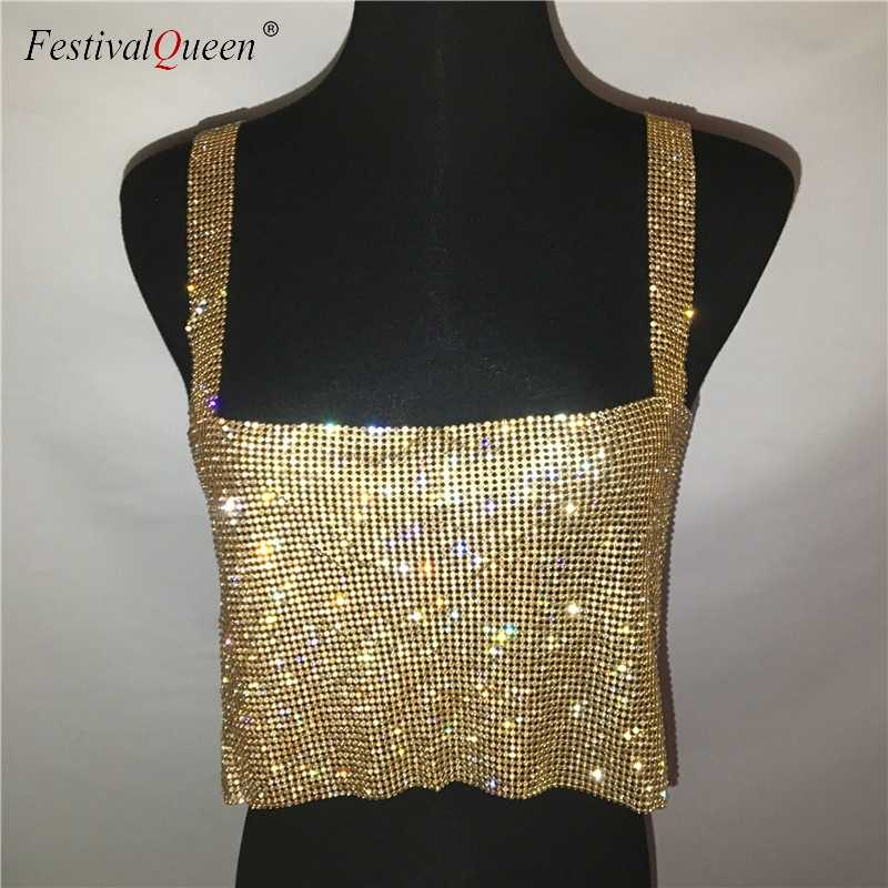 Bling Steentjes Party Crop Top 2019 Fashion Solid Backless Bandjes Volledige Diamonds Pailletten Cami Cropped Top voor Vrouwen