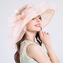 المرأة الأورجانزا كبير زهرة ريشة قبعة الزفاف قبعة حفلات لسيدة كنتاكي ديربي قبعة الإناث الصيف واسعة بيرم الشمس فاتحة Feminino