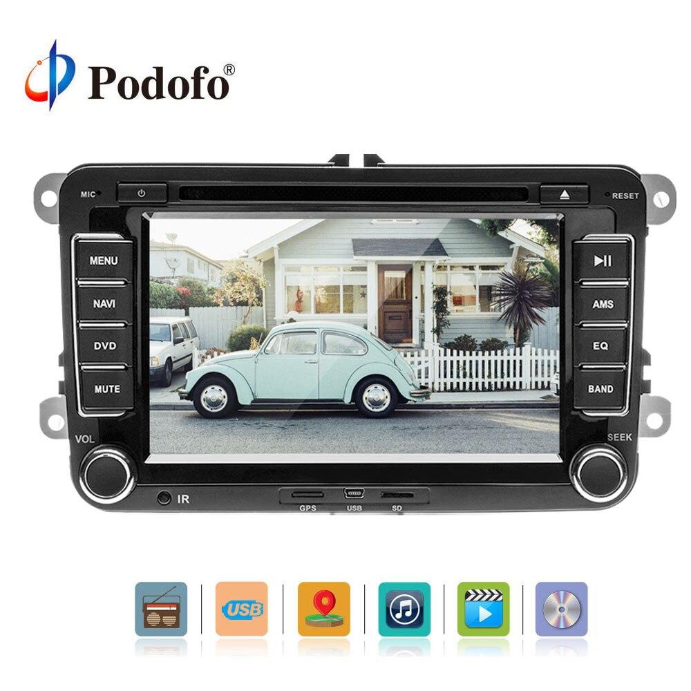 Podofo 2 DIN 7 ''Voiture Lecteur Multimédia De Voiture Lecteur DVD GPS Navigation Bluetooth Radio FM Pour Volkswagen VW Golf mattwayT6 Sharan