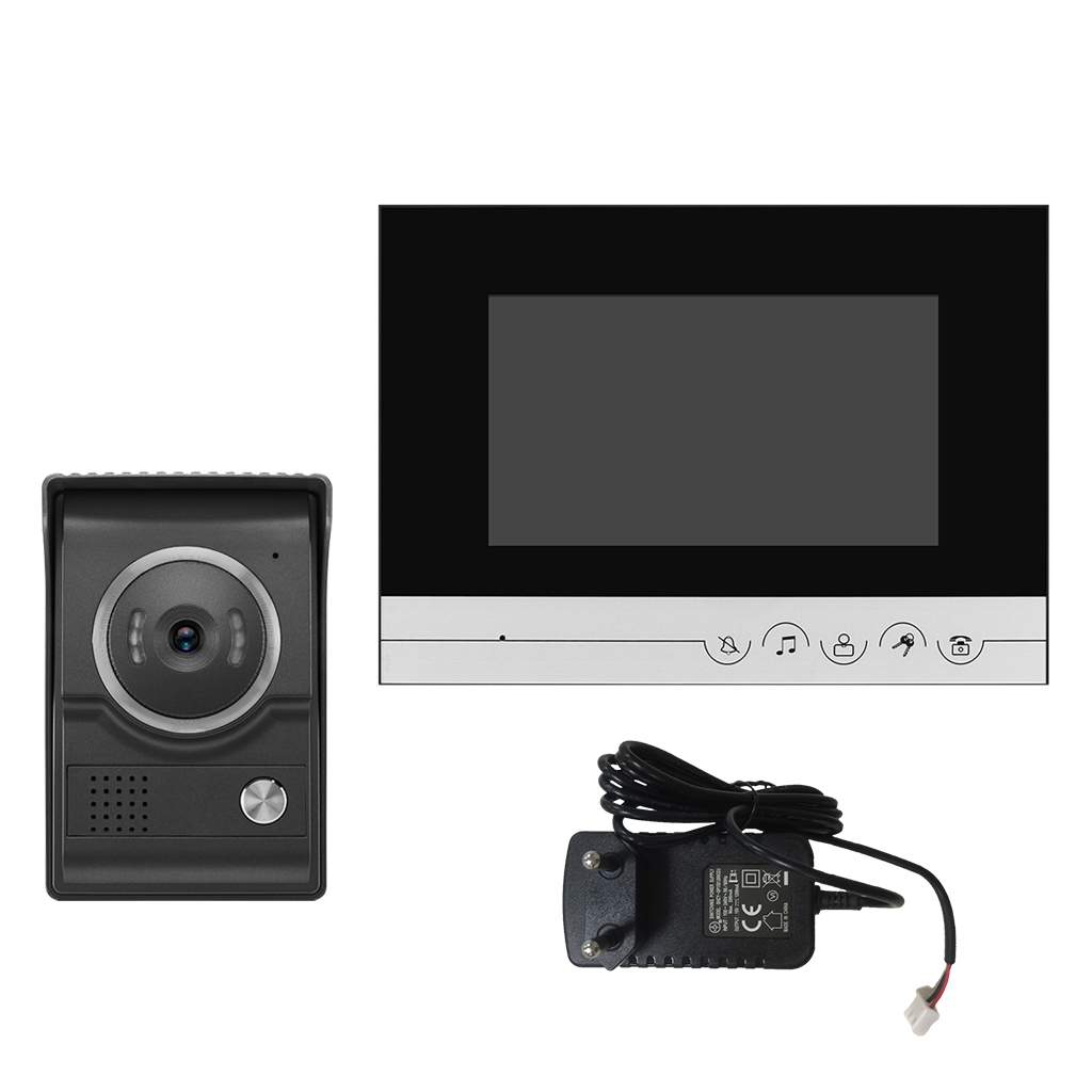7' TFT LCD Video Doorbell Intercom Home Security Night Vision EU Standard 7 inch video doorbell tft lcd hd screen wired video doorphone for villa one monitor with one metal outdoor unit night vision