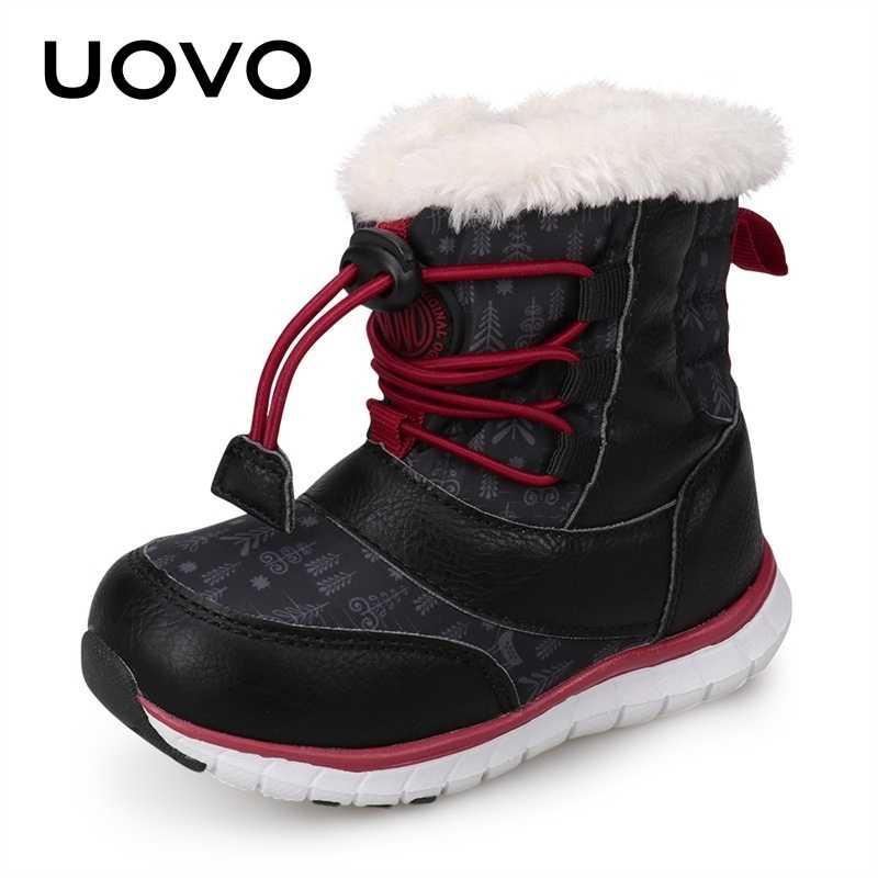 UOVO 2019 botas de nieve negras para niños botas de invierno para niños zapatos impermeables botas de bebé abrigadas de moda para niños tamaño de calzado 23-30 #