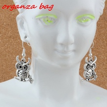 MIC Owl Earrings Silver Fish Ear Hook 3pairs/lot Antique Chandelier Jewelry 18.5x37mm A-235e