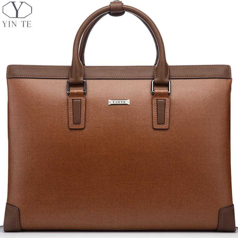 YINTE Men's Briefcase Leather Men Handbag Business Messenger Shoulder Bag Brown Color 15inch Laptop Men Totes Portfolio T8369-6 yinte leather men s briefcase black bag fashion business messenger totes laptop bag ostrich prints men s portfolio t8518 6