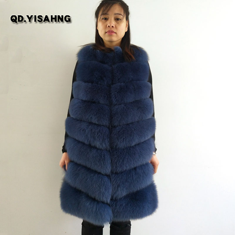 Natural fox fur vest ladies fox fur round neck long coat warm winter New fashion vest Customizable style  QD.YISHANG(China)