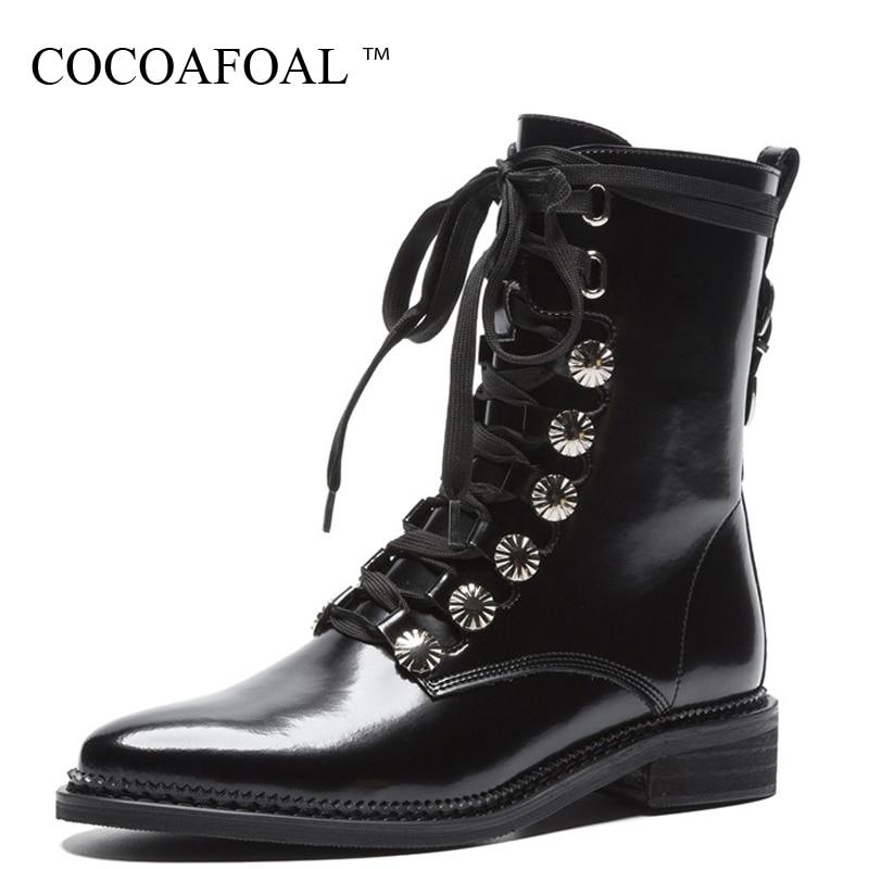 купить COCOAFOAL Women's Genuine Leather Martin Boots Woman Shoes Autumn Winter Chelsea Boots Black White Genuine Leather Ankle Boots недорого