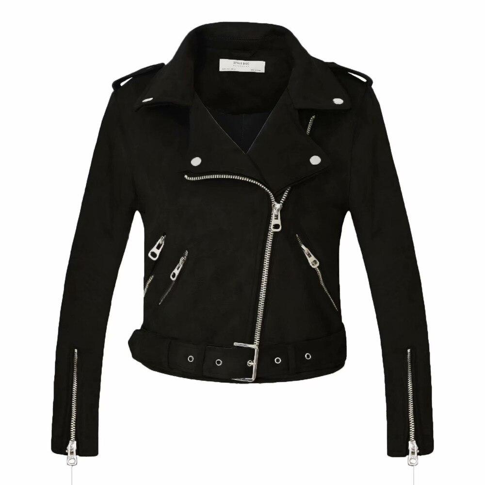 2018 Nouveau Arrial Femmes Automne Hiver Faux Suède En Cuir Vestes Lady Mode Mat Moto Manteau Biker Gris Rose Beige Outwear