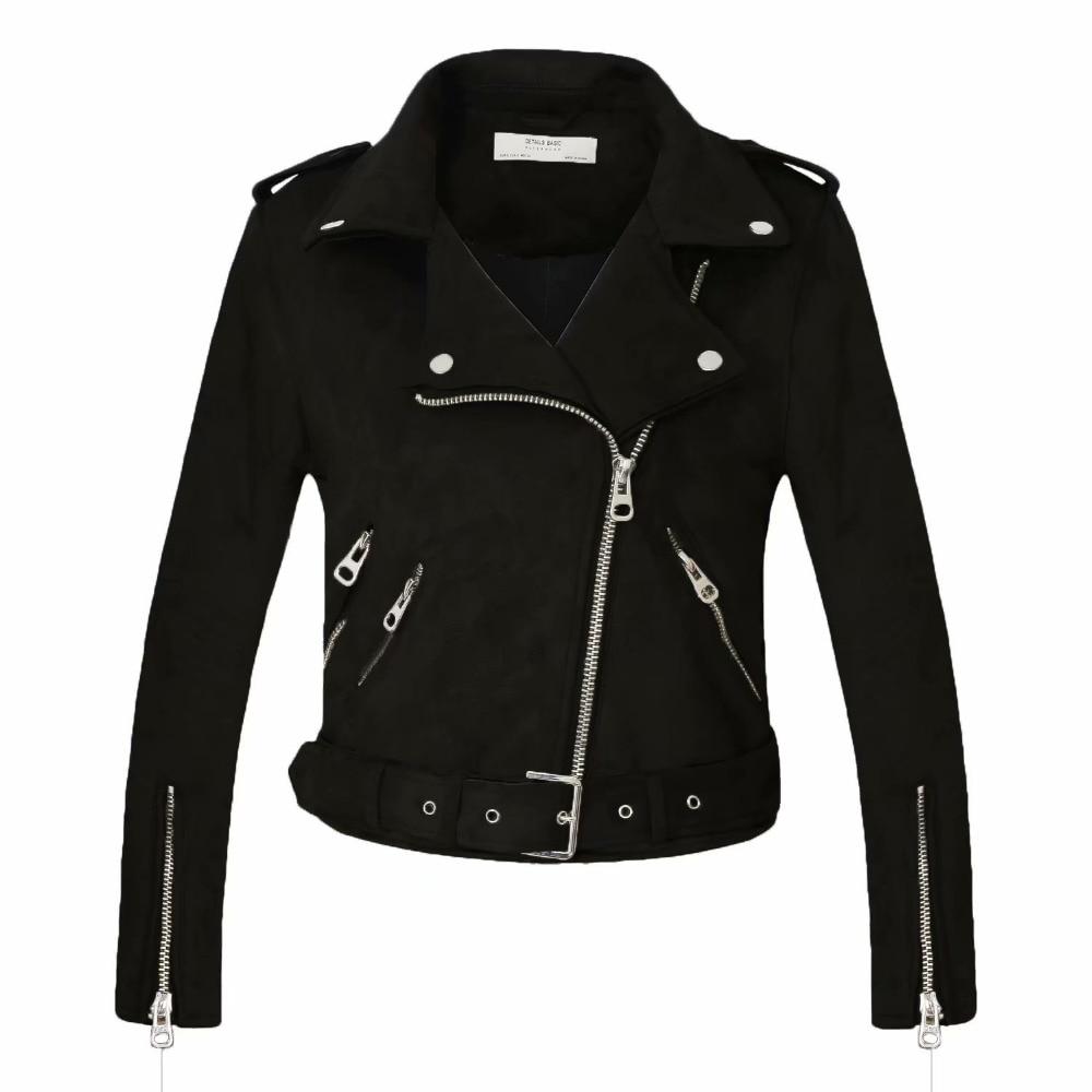 2021 Women Autumn Winter Thick Fake Suede Faux Leather Jackets Sashes Lady Matte Motorcycle Coats Biker Zipper Pocket Streetwear