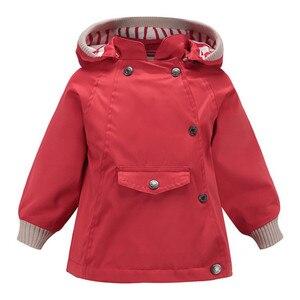 Image 2 - Abrigos y abrigos cálidos a prueba de viento y lluvia para niñas, chaquetas a prueba de viento con cuello para niños, chaqueta informal para exteriores para niños, Primavera
