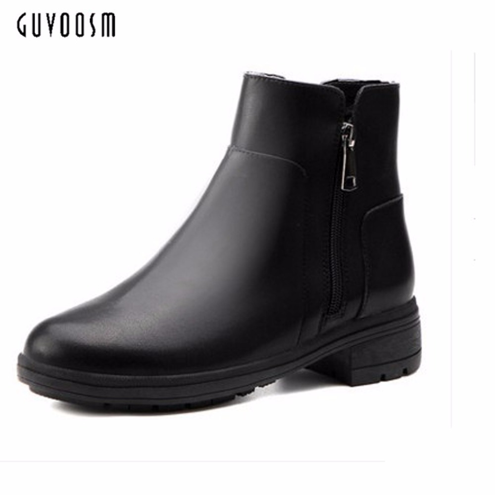 Guvoosm Zip Ankle Boots Black Rubber Solid Microfiber Shoes Women Riding Med Height Cross-tied Bota Feminina  Big Size 36-44 цена и фото