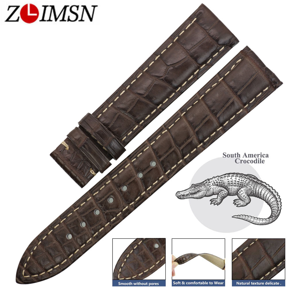 ZLIMSN Genuine Crocodile Leather Watchband Men's Clock Watches Belt Gray 14mm-24mm Suitable For OMEGA Longines Watch Band Strap часы longines