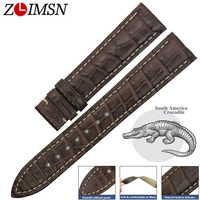 ZLIMSN Genuine Crocodile Leather Watchband Men's Clock Watches Belt Gray 14mm 24mm Suitable For OMEGA Longines Watch Band Strap