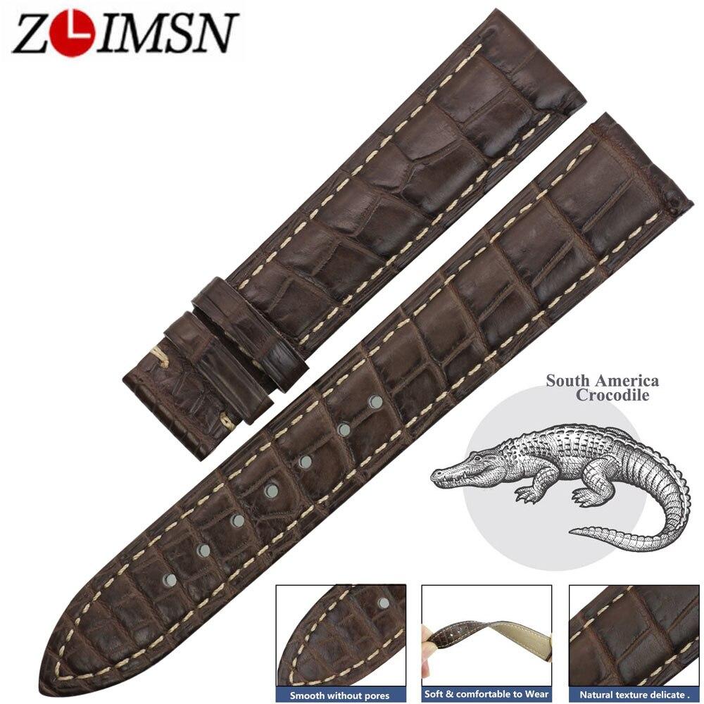ZLIMSN bracelet de montre en cuir véritable Crocodile montres pour hommes ceinture gris 14mm 24mm adapté pour OMEGA Longines bracelet de montre bracelet-in Bracelets from Montres    1