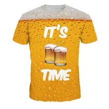 It's Beer Time 3D Letters Print T Shirt Men Women 2019 New Summer Cool Luxury O-neck Short Sleeve T-Shirts Male Tops Tees(China)