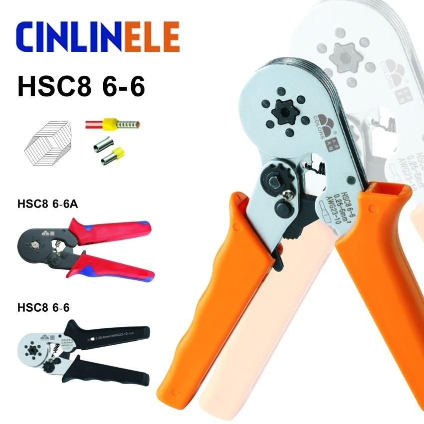 nvío gratis HSC8 6-6 0.25-6mm 23-10AWG ajustable Hexagon Tube Bootlace Terminal alicates que prensan herramientas de mano Crimp Ferramentas