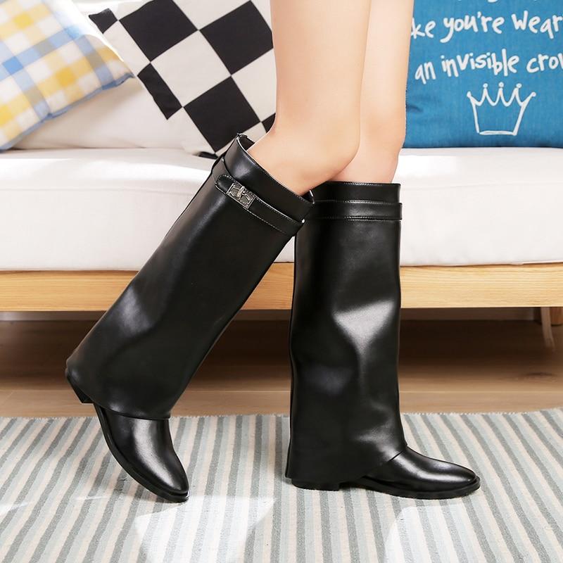 Bout Mode Métal Genou Argent Femme Shark Haute Boucle Chaussures 2018 Chevalier 42 Nouveau Une Bottes Noir Femmes 35 Ceinture Verrouillage Appartements Rond wXqzTE