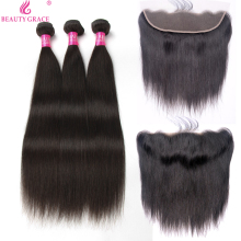 Beauty Grace Brazilian Straight Mänskliga Hårväv 3 Bundlar With Lace Frontal Closure Non Remy Hair Bundlar With Frontal