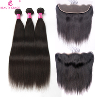 Beauty Grace Brazilian Straight Human Hair Weave 3 Bundles With Lace Frontal Closure Non Remy Hair