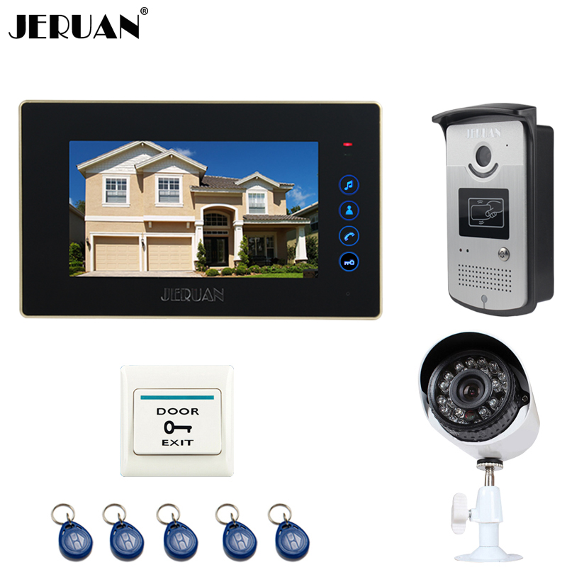 JERUAN NEW 7 inch TFT Touch key Video intercom Door Phone System + waterproof RFID Access IR Camera + 700TVL Analog Camera jeruan 8 inch tft video door phone record intercom system new rfid waterproof touch key password keypad camera 8g sd card e lock