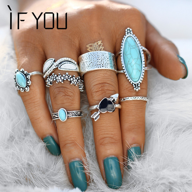 IF YOU Vintage Boho Big Blue Stone Heart Finger Ring Set For Women Midi Knuckle
