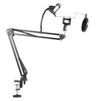 Neewer Adjustable Recording Microphone Suspension Boom Scissor Arm Stand Mic Wind Pop Filter Shock Mount Phone