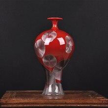 Jingdezhen high-grade ceramics color glaze vase art red classic modern Home Furnishing decorated living room decoration