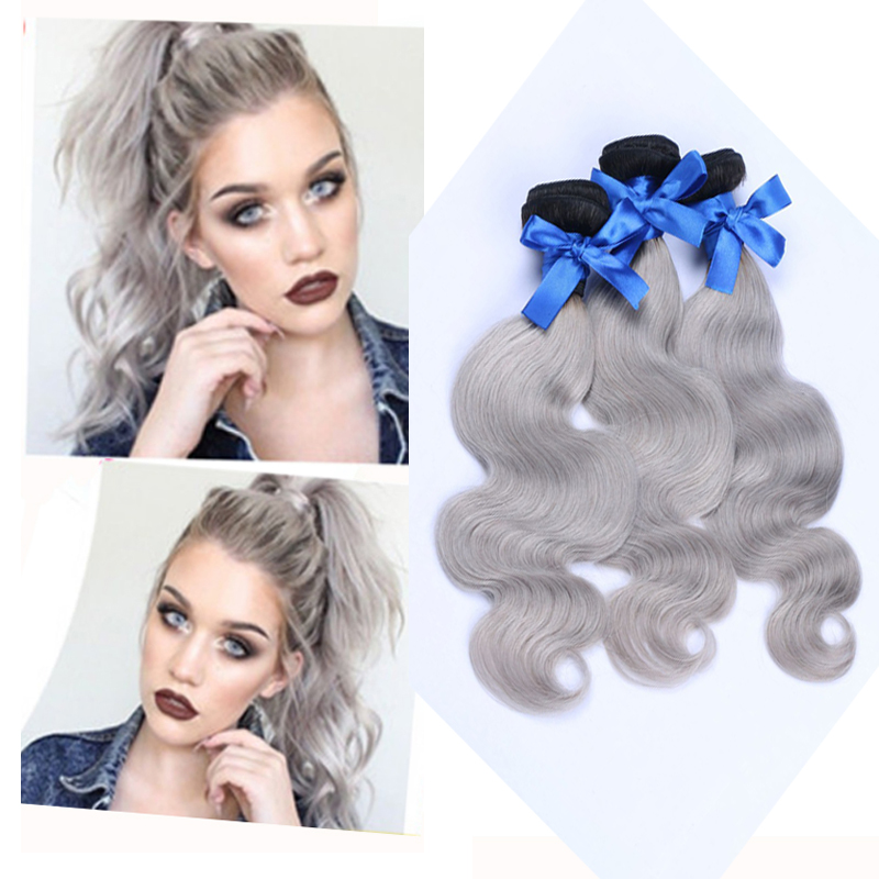 Brazilian Virgin Gray Hair Body Wave Extension 3 Bundles Brazilian Human Hair Body Wave Ombre Weave Bundles Dark Roots 1b Grey