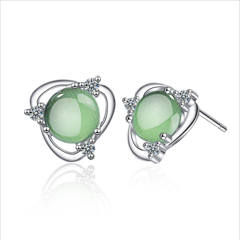 Women Fashion Stud Earring Jewelry Austrian Crystal Charms Blue Big Flower Lady Banquet Bridding Gift