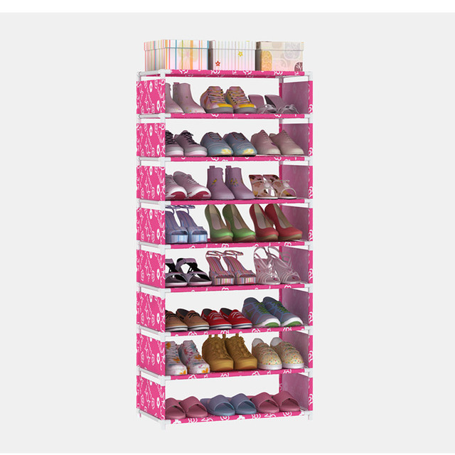 031414 Multiple layers Shoe Rack Non-woven Fabric Thick Galvanized pipe Shoe Tower Storage Organizer Cabinet High quality PP acc