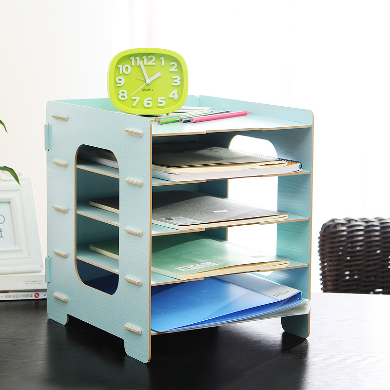 new 5 layer diy wood office desk organizer file rc magazine stationery makeup organizer 27 31. Black Bedroom Furniture Sets. Home Design Ideas