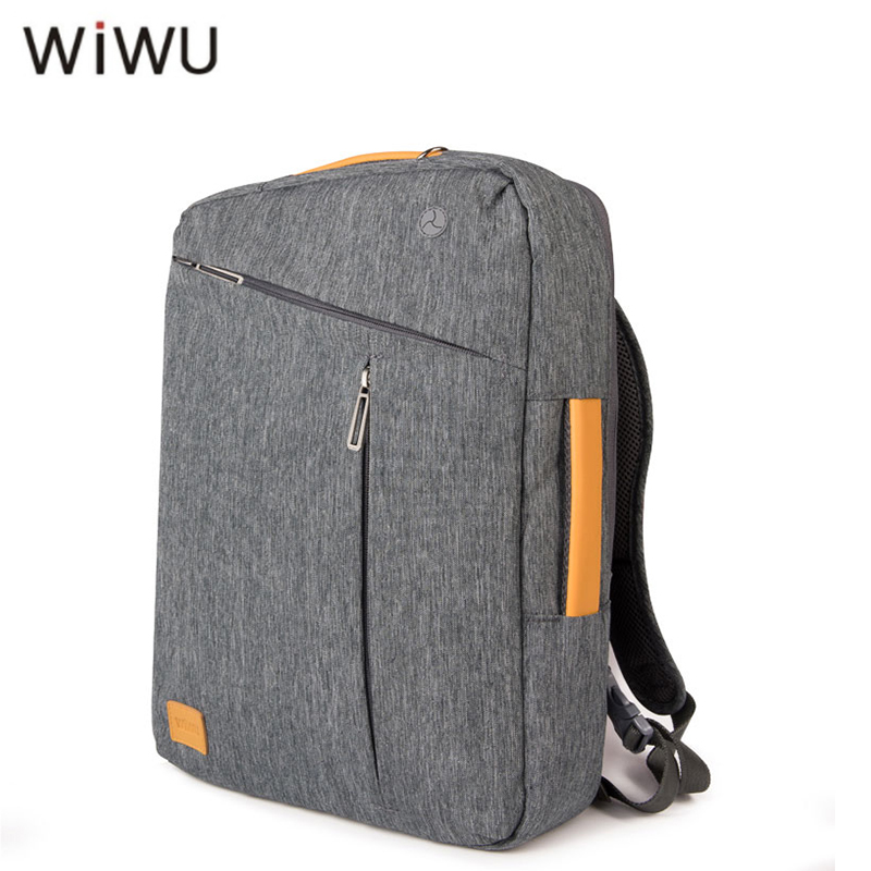 WIWU Laptop Backpack 15.6 15.4 15 17 Canvas Waterproof Backpack Genuine Leather Bag for Macbook Men's Backpack Gray Blue Handbag