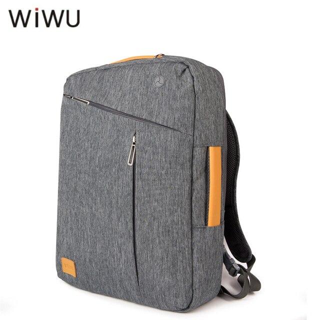 WIWU Laptop Backpack 15.6 15.4 15 17 Canvas Waterproof Backpack Genuine Leather Bag for Macbook Men's Backpack Gray Blue Handbag