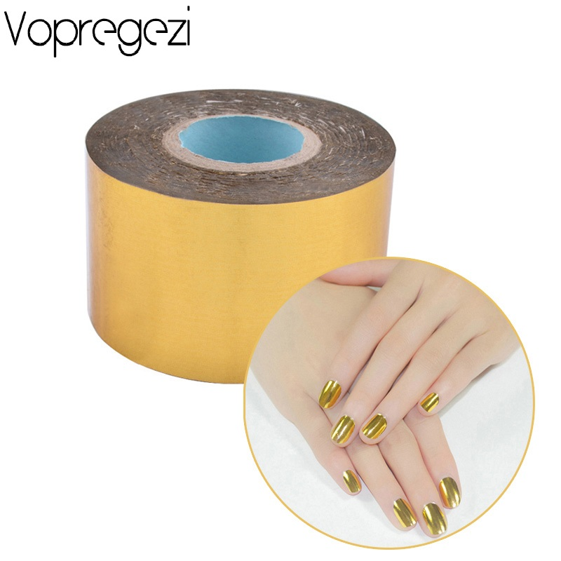 Vopregezi Holographic Nail Art Foil Tape 4cm*120m Silver Gold Transfer Stickers Ongle Manicure Nail Art Decoration Water Decal beauty girl 2017 wholesale excellent 48bottles 3d decal stickers nail art tip diy decoration stamping manicure nail gliter