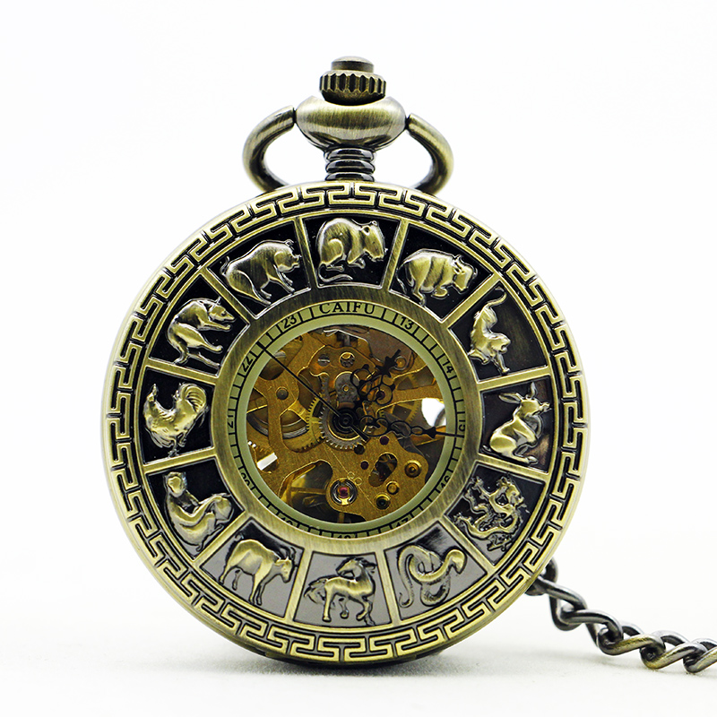 Antique&Vintage Bronze Zodiac Pocket Watch Vintage Roman Number Mechanical Pocket Watch Men Women Watch With Fob Chain PJX1121