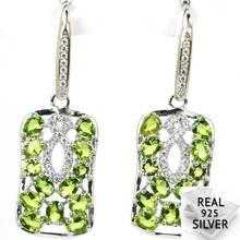 Real 4.9g 925 Solid Sterling Silver Ravishing Green Peridot Cubic Zirconia Womans Earrings 39x13mm