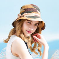 Hat Female Summer Raffia Hats Beach Travel Sun Protection Visor Folding Sun Cap Lady Beautiful Korean Fashion Elegant Caps H6635