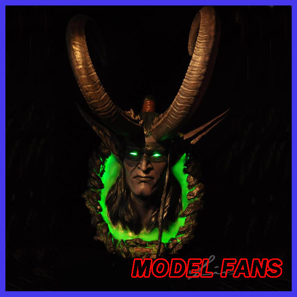MODEL FANS IN-STOCK wow Illidan Horned head gk resin Wall-mounted contain led light eye and base for Collection model fans in stock the same paragraph tsume 50cm fist of the north star lao gk resin made for collection