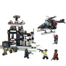 Sluban City SWAT Police Command Center Helicopter Jeep Enligten Building Blocks Toy For Children  Compatible With Legoe