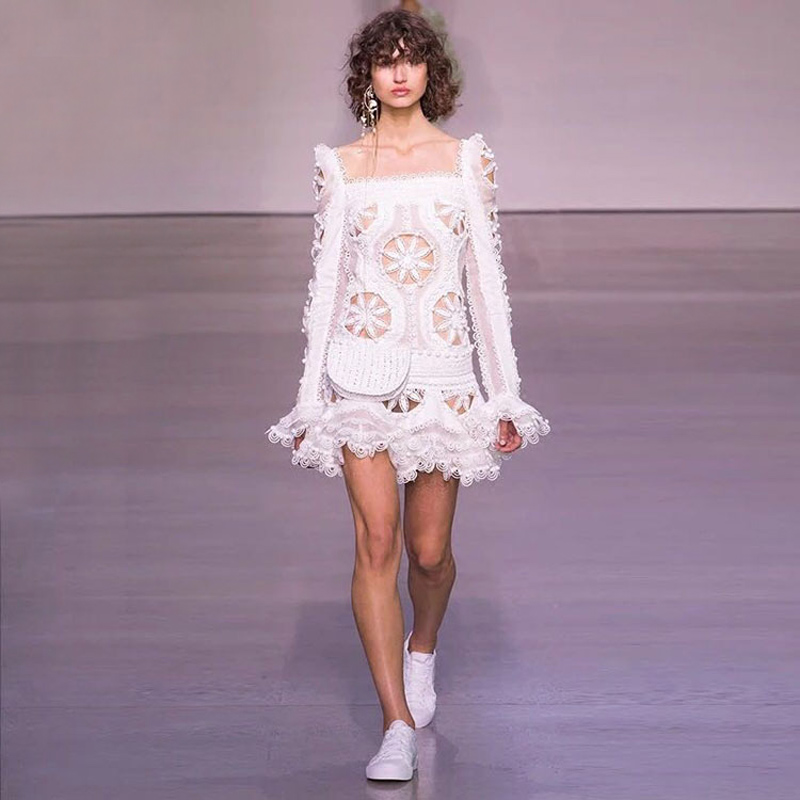 high fashion runway crochet white sexy birthday dresses square collar long sleeve fit and flare dress