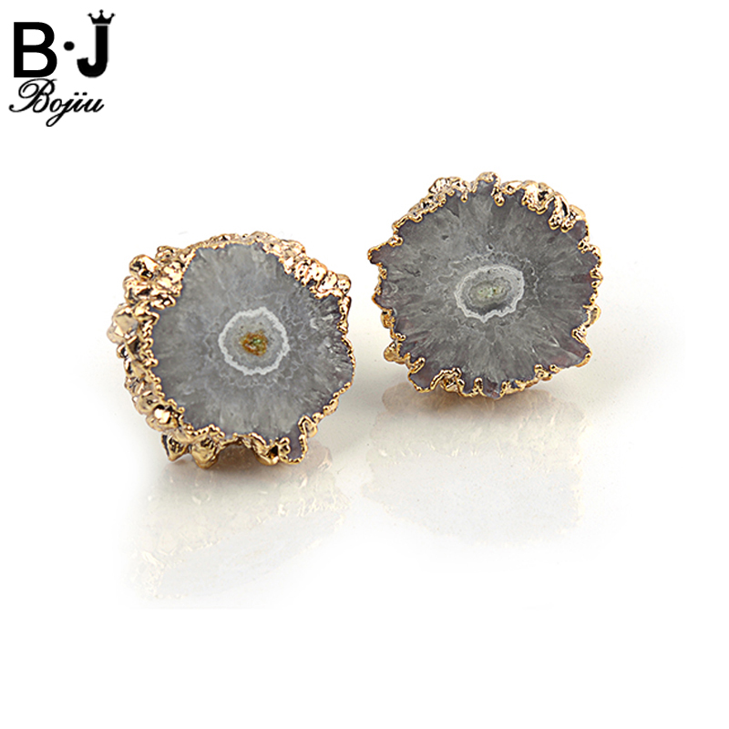 Bojiu Earring Romantic Flower Shape Women Jewelry Gold-color Natural Stone Druzy Earrings Exquisite Gifts Orecchini Donna EA023