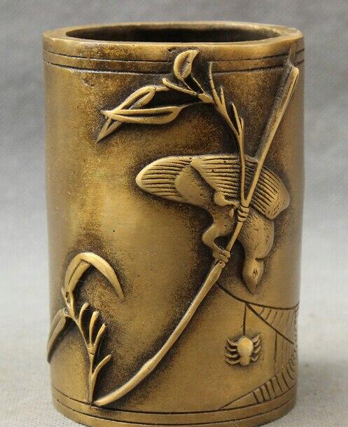 JP S0608 Marked Chinese Bronze Bird Catch Spider Bamboo Statue Folk Brush Pot Pencil Vase (B0413)