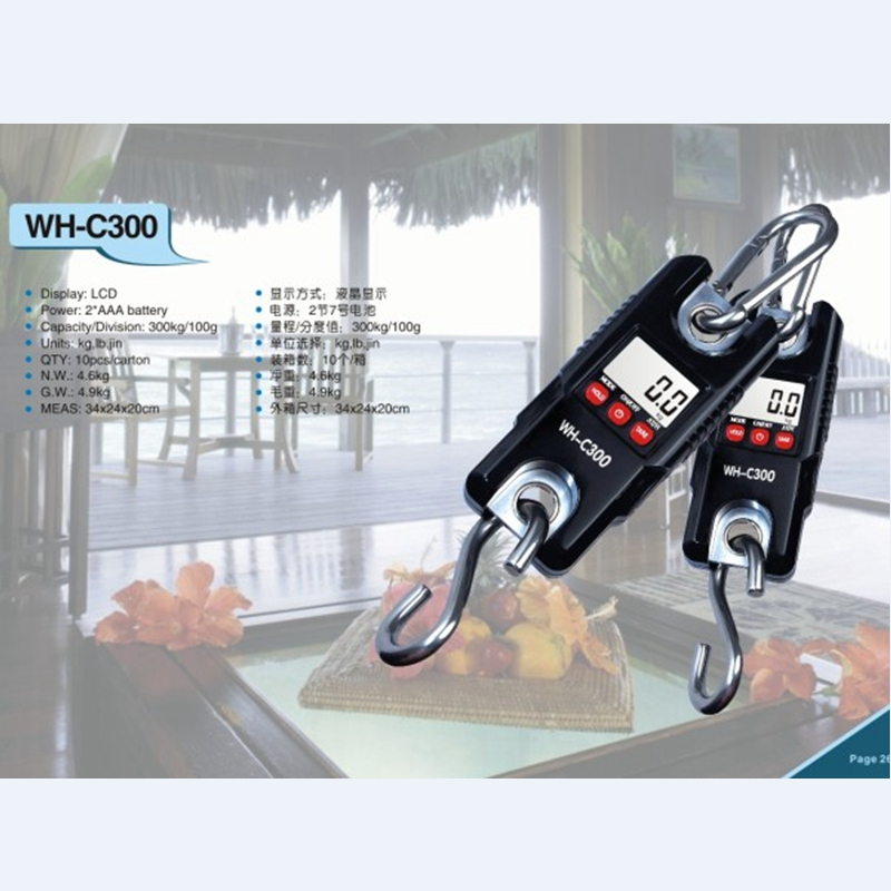 300kg 0.1kg Portable Digital Crane Scale 300KG 100g LCD Electronic Hanging Scale Stainless Steel Hook Loop Weighing Balance C300 цена