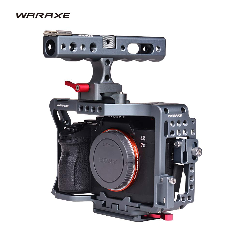 WARAXE A7III A7R3 Cage Kit for Sony A7RIII / A7III/A7MIII A73 R3 Camera Protection Rig for Camera NATO Top Handle Grip Included