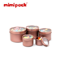 mimipack 1/2/6/8/16 oz Small Deep Round Tins Clear Window Top Lid Tinplate Packaging Watches Boxes Food Cans, 24 Pack (7 Colors)(China)
