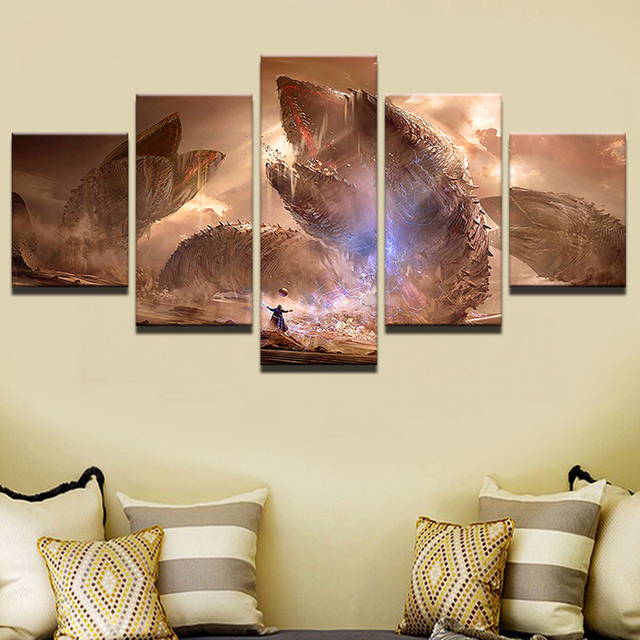 Printed Modular Picture Large 5 Panel Frames Movie Scene Canvas Painting  For Bedroom Living Room Home