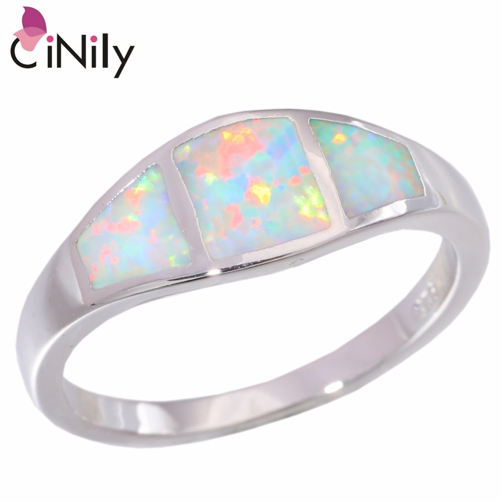 Cinily Fire-Opal Jewelry Silver-Plated Wedding White Ring-Size-6 Fashion Women for 7/8/9/10-oj6072