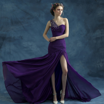 z 2016 new arrival stock maternity plus size bridal gown  evening dress long single shoulder sexy bling Purple 1170