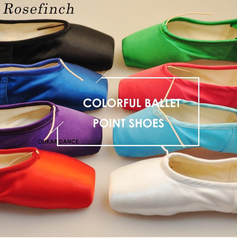 Туфли-пуанты женские атласные, балетки с лентами, для танцев, выступлений, красные синие, B23