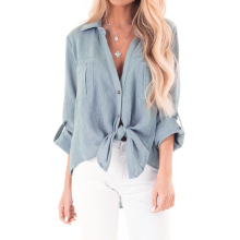 Plus Size Solid Color Button Up Front Tie Blouse Top Summer Spring Long Sleeve Loose Shirt Blouse Turn Down Neck Front Shirt D30