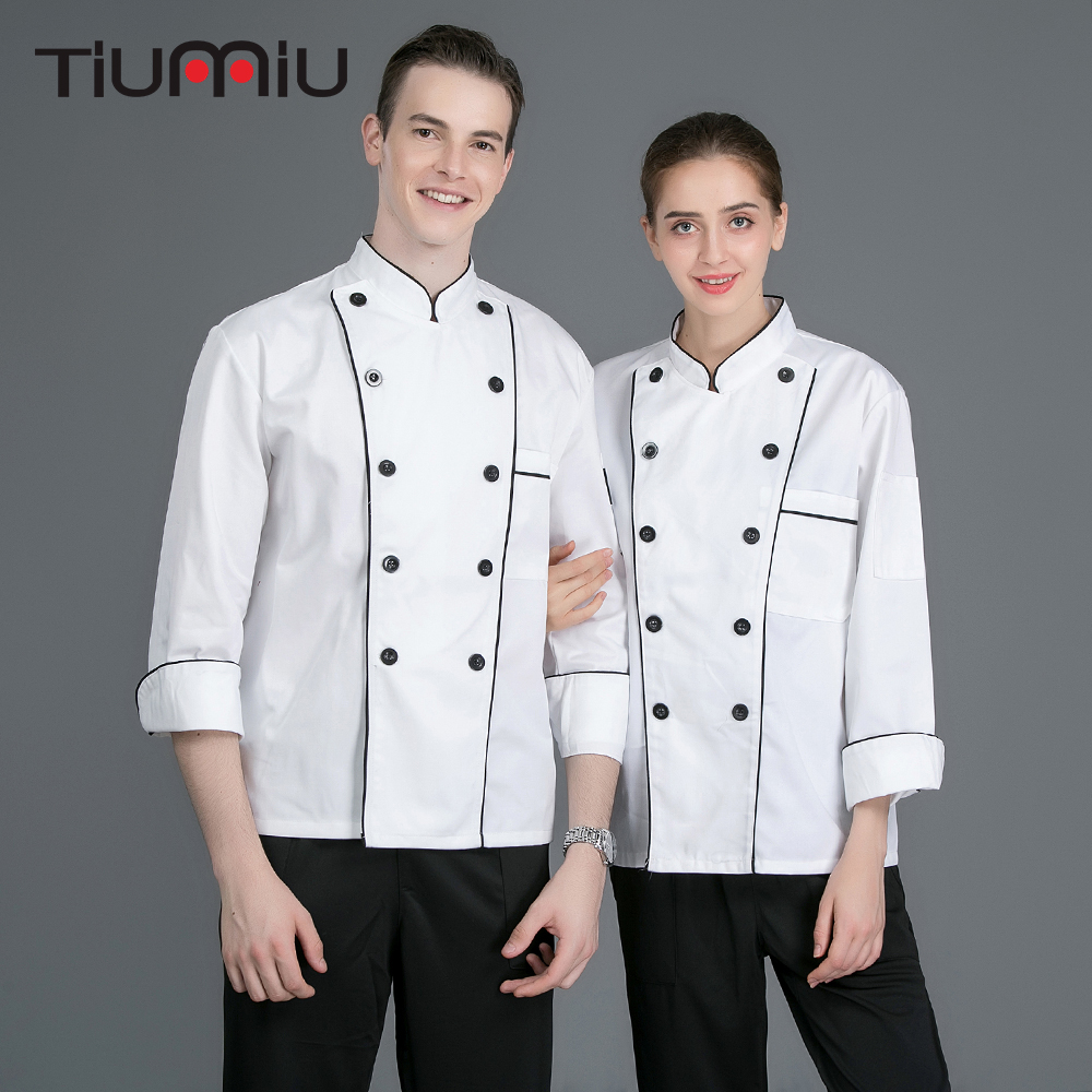 New Style Stand Collar Double Breasted Long Sleeves Chef Uniforms Catering Bakery Cafe Bbq Cook Clothes Chef Jacket Work Uniform