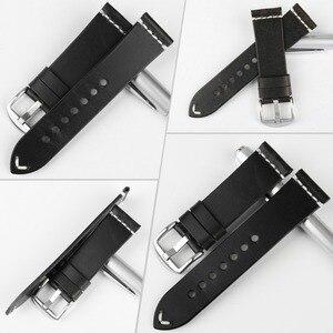 Image 2 - MAIKES جديد تصميم خاص النفط الشمع جلد البقر حزام (استيك) ساعة 20 مللي متر 22 مللي متر 24 مللي متر ووتش اكسسوارات حزام ساعة اليد الأسود مربط الساعة ل سايكو